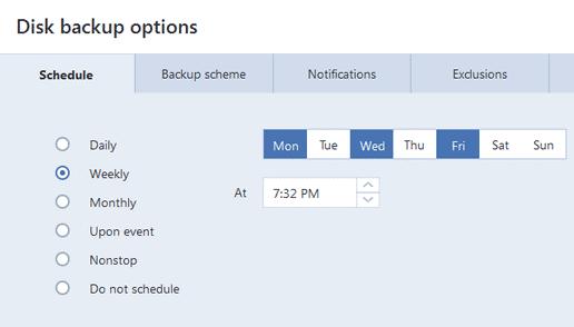 Bakup options